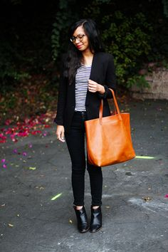Black blazer, stripes, leather tote