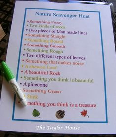 Go on a photo nature scavenger hunt   Time: 2 hrs.  Supplies: hunt list, camera for picture-taking, bags for collections
