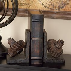 A very useful set of book ends in the unique theme of rusted gears are cast in industrial polystone. Steampunk Bedroom, Steampunk Home Decor, Steampunk House, Steampunk Theme, Industrial Bookends, Bookends Diy, Decorative Pillows, Decorative Boxes
