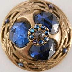 Victorian Gay 90s Xlrg Open Back Button with Blue Jewel and Cut Steels..