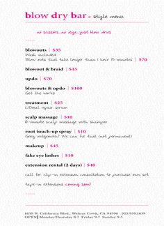 MENU — Blow Dry Bar Studio