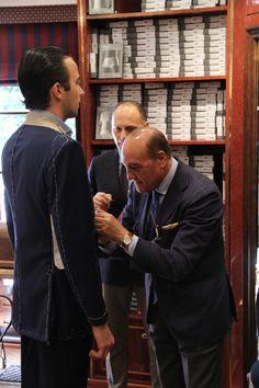 The fitting process. Couple Tees, Tailor Shop, Bespoke Tailoring, Sharp Dressed Man, Gentleman Style, Men Dress, Menswear, Mens Fashion, Tuxedo Shop