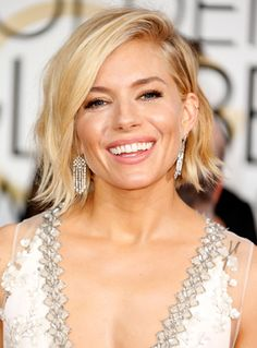 Golden Globes Beauty: Sienna Miller Short Hair Don't Care #InStyle