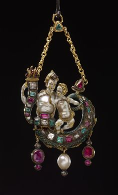 'Pendant jewel'. gold; set with diamonds, emeralds and rubies; form of a Nereid with child, bodies of Baroque pearls with white enamel. Late 16th C., Germany or Italy. Length: 9.2 cm. ruby, pearl, gold. -The British Museum, London-