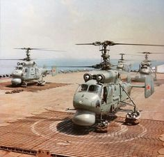 KA-25s (looks like they  are launching from the Maskva)