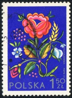 Poland - CIRCA 1974: A stamp printed in Poland  shows  a Polish floral design, series, circa 1974 Stock Photo