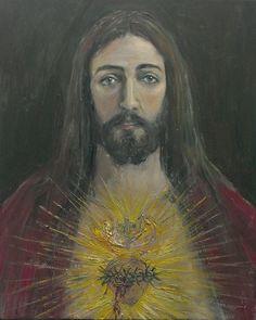 sagrado corazon de jesus. oleo de jose luis castrillo