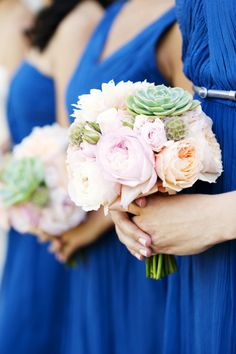 Pastels paired with pretty blue Photography By / gladysjem.com, Wedding Planning By / charmedeventsplanning.com, Floral Design By / tanjeeryn-designs.com    THESE... succulents with peonies and a bold color.  gorg.