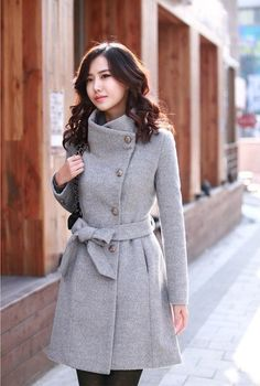 Womens Cute Blue Ruffle Front Peacoat Double Breasted Trench