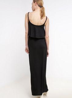 Lipsy Sukienka z dżerseju długa czarna maxi dzianinowa black
