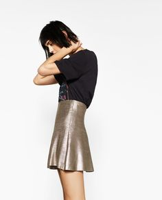 ZARA - WOMAN - SHORT A-LINE FOIL SKIRT