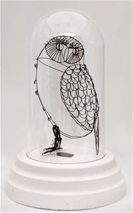 Katherine Harvey wire sculpture - owl - art