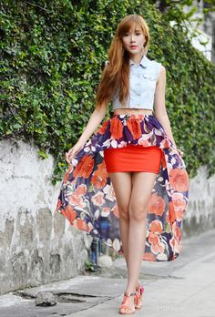 Discover this look wearing Eudora Earrings tagged dutchess - Fabric Shortage by camilleco styled for Casual, Everyday Cos Fashion, Fashion Outfits, Womens Fashion, Skirt Fashion, Street Fashion, Korean Fashion, Peplum Skirt Outfits, Mint Dress, Glamour