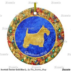 Scottish Terrier Gold Blue Lights Ceramic Ornament