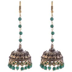 Oxodised Brass Jhumka With Green Droplets