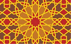 Arabesque -- An elaborate ornamental design of intertwined floral or geometric motifs. Commonly comes from (or inspired by) Islamic art or architecture.