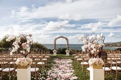 Curly willow arch, Manzanita Trees, Aisle Petals, Ceremony Flowers. Orchids, roses, hydrangea. Florals By Jenny: Blush White and Gold at The Ritz Carlton, Laguna Niguel- 11.01.2014