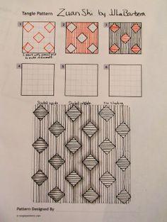 Tinker Tangles: Tangle Pattern: Zuan Shi by JJ LaBarbera Zentangle Drawings, Doodles Zentangles, Doodle Drawings, Tangle Doodle, Tangle Art, Doodle Patterns, Zentangle Patterns, Art Patterns, Doodle Borders