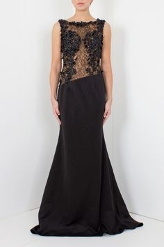 Jovani | Lace Mesh Maxi Dress Black | Women dresses online | Boudi Fashion | 93478 #JovaniDresses