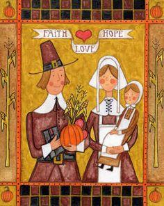 Pilgrims' Pride by Joseph Holodook ~ Thanksgiving ~ pilgrim family