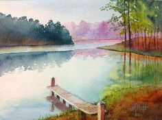 "Serenity at Dusk by Judy Mudd Watercolor ~ 5"" x 7"""