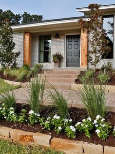 """""""Griege: Not as cool as gray, not a warm beige, this taupey color is perfect for those that want a non-white neutral. The color is beautiful in this Fixer Upper refresh of an brick ranch home."""" Pros and Cons: Painted Brick ExteriorsBECKI OWENS Café Exterior, House Paint Exterior, Exterior Paint Colors, Exterior Remodel, Exterior House Colors, Paint Colors For Home, Exterior Design, Brick Exterior Makeover, Paint Colours"""
