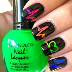 Heartbeat Stencils for Nails, Valentine's Day Nail Stickers, Nail Art, Nail Vinyls - Дизайнерские ногти Neon Nail Art, Cute Nail Art, Fancy Nail Art, Rainbow Nail Art, Nurse Nails, Best Acrylic Nails, Nagel Gel, Cute Nail Designs, Nail Designs Easy Diy