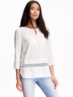 Lace-Crochet Gauze Tunic for Women