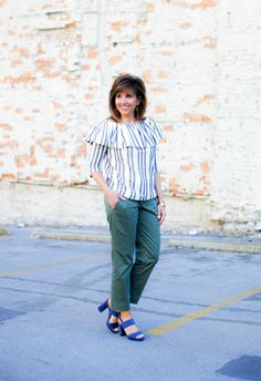 Spring Fashion-Stripe Top and Olive Pants