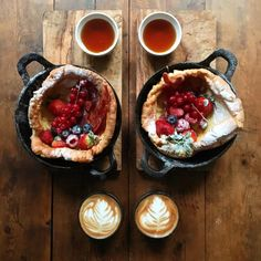 Michael Zee's recipe for a dutch puff pancake from his book SymmetryBreakfast: 100 Recipes for the Loving Cook. Puff Pancake, Dutch Pancakes, Diet Recipes, Vegan Recipes, Vegan Meals, Paleo Diet, Cravings, Brunch, Food And Drink