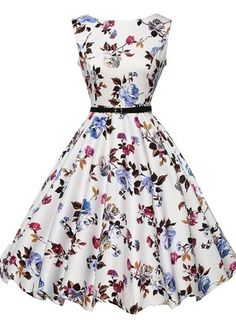 Vestidos Mezclas de algodón Floral Hasta las rodillas Sin mangas