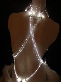 Led light fiber optics swarovski crystals beads erotic whips floggers necklace glowby custom. $120.00, via Etsy.