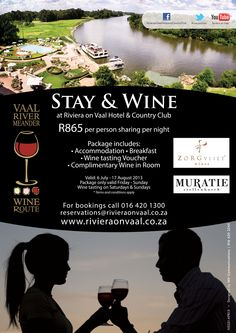 The Riviera on Vaal Hotel & Country Club has joined in on the anniversary of the Vaal Triangle's Vaal Meander Wine Route this year. Wine Packaging, 10 Anniversary, Special Promotion, Wine Tasting, Triangle, Club, Country, Rural Area, Country Music