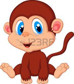 Cute baby monkey cartoon  Stock Vector