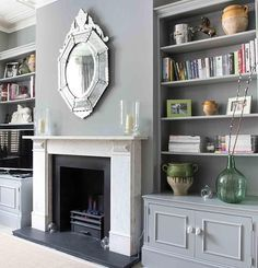 Diy built in shelves around fireplace built ins cabinets medium size of living wall units and Living Room Shelves, Living Room Storage, Living Room With Fireplace, Living Room Paint, Living Room Grey, Home Living Room, Living Room Decor, Wall Storage, Bedroom Decor