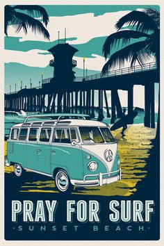 "this is 100% original artwork Pray for surf vintage volkswagen retro travel poster surfing beach surfer screen print poster hand screen printed 3 color design. ARTWORK SIZE IS 12""X18"" PRINTED ON VANILLA HEAVY COLD PRESSED ARTBOARD (VERY THICK) LIMITED RUN OF 50 PRINTS SIGNED AND NUMBERED!  ADDITIONAL SIZES ARE AVAILABLE, PLEASE CONTACT ME IF YOU ARE INTERESTED. $24.99"