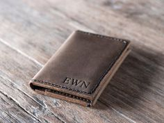 This listing is for a PERSONALIZED wallet. Simple never looked so good. This is a breast pocket wallet. ✦ It might be longer than you expect so please double check the dimensions before purchasing. ** The credit slots are vertical not horizontal. You can compare the difference to the regular bifold here: https://www.etsy.com/listing/158934996/ ————————————————————— [ DIMENSIONS ] ————————————————————— ✦ Made from 100% full grain cowhide. ✦ Closed dimensions - 3 1&...