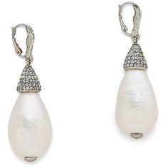 Oscar de la Renta Drop Earrings ($280) ❤ liked on Polyvore featuring jewelry, earrings, pearl, pearl earrings, oscar de la renta jewelry, teardrop pearl earrings, hinged earrings and teardrop earrings