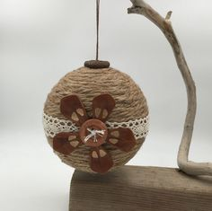Jute lace ball, Jute ornament, lace ornament, Pine cone ornament, Christmas ornament, tree decoration, tree ornament, handmade, up-cycled, by WobblyWelliesStudio on Etsy https://www.etsy.com/listing/473556920/jute-lace-ball-jute-ornament-lace