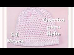"""Gorrito para bebe de 3-6 meses en gancho con punto """"Petit Pois"""" #85 - YouTube Scarf Crochet, 6 Mo, Scarfs, Chrochet"""
