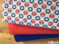 Kinderstoffe - Little Darling Jersey Maritime Sterne Anker - ein Designerstück von stoffiserie bei DaWanda