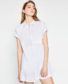 Image 1 of SHIRT DRESS WITH FRILL from Zara