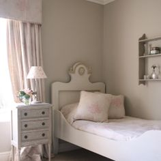 Paint: Stoney Ground (Farrow & Ball) Curtain Fabric: Pink Sophia Bed Linen & Cushions: Pink Sophia Lampshade Fabric: Roses