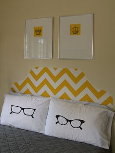 How To: Freezer Paper Stencil Pillow Cases LOL!! <3 the glasses.