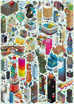 From klangundkleid.de  buildings by eboy  This was pinned by Nina Levett, www.ninalevett.com. Nina Levett writes a blog about ornaments and patterns.