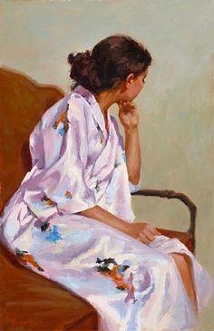 Kimono Dreaming, Oil on linen, by Pauline Roche