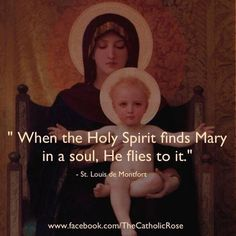 """""""When the Holy Spirit finds Mary in a soul, He flies to it.' - St. Louis de Montfort"""