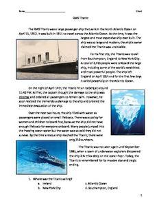 Short story The Titanic Titanic reading passage . Reading Lessons, Teaching Reading, Comprehension Questions, Reading Comprehension, 2nd Grade Reading Worksheets, Reading Passages, Reading Material, Teacher Newsletter, Titanic