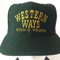 9e97b67e2c5 NOS Vintage Snapback Hat Western Ways Studio Props Green Wool Blend Otto Cap   Otto