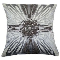 Adele Beaded Square Throw Pillow in Silver - BedBathandBeyond.com